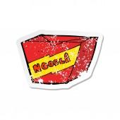 retro distressed sticker of a cartoon noodle box