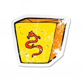 retro distressed sticker of a cartoon noodle box