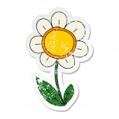 distressed sticker of a quirky hand drawn cartoon daisy