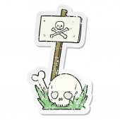 distressed sticker of a cartoon skull bones and warning sign