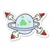 sticker of a cartoon rockets leaving a planet