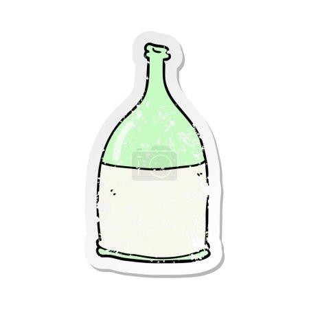 autocollant en détresse d'une bouteille de dessin animé