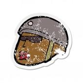 retro distressed sticker of a cartoon policeman head