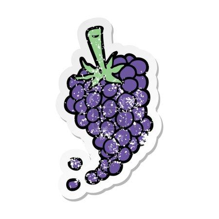 autocollant en détresse d'un raisin de dessin animé