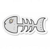 sticker of a cartoon fish bones