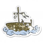 distressed sticker of a cartoon old boat