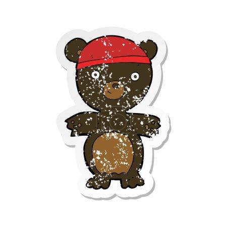 Retro distressed sticker of a cartoon cute black b...