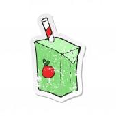 retro distressed sticker of a cartoon juice box