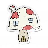 distressed sticker of a cartoon mushroom house