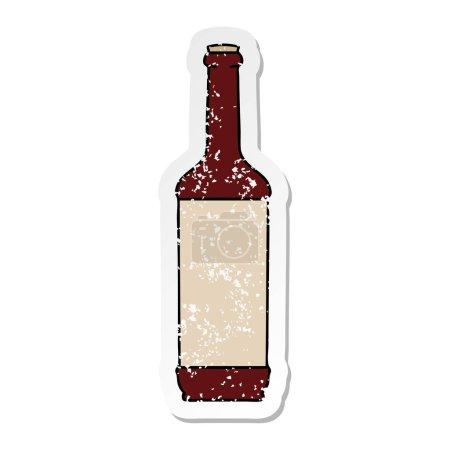 autocollant affligé d'une bouteille de vin de dessin animé dessiné à la main bizarre