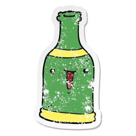 autocollant en détresse d'une bouteille de bière de dessin animé