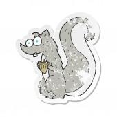 retro distressed sticker of a cartoon squirrel with nut