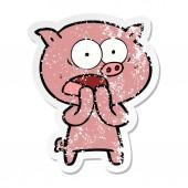 distressed sticker of a cartoon pig shouting