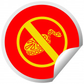 circular peeling sticker cartoon no movies allowed sign