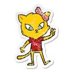 Distressed sticker of a cartoon cat...