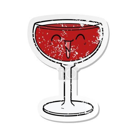 autocollant en détresse d'un verre de vin de dessin animé