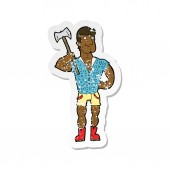 retro distressed sticker of a cartoon lumberjack