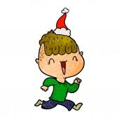 hand drawn textured cartoon of a happy boy surprised wearing santa hat