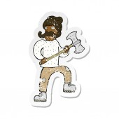 retro distressed sticker of a cartoon man with axe