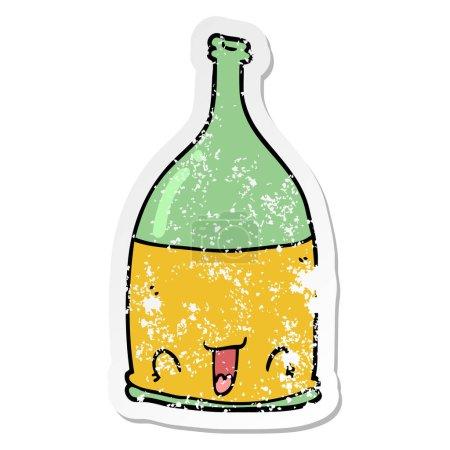 autocollant en détresse d'une bouteille de vin de dessin animé