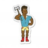 sticker of a cartoon lumberjack