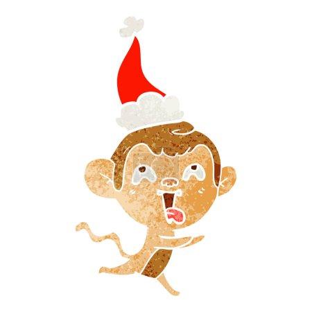 Crazy hand drawn retro cartoon of a monkey running...