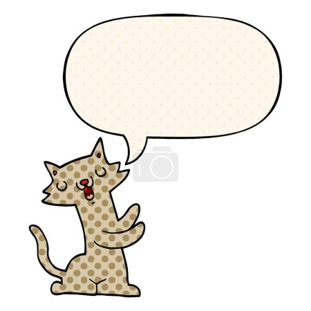 cartoon cat and speech bubble in comic book style