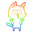 Rainbow gradient line drawing of a funny cartoon c...