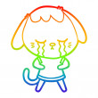Rainbow gradient line drawing of a cute puppy cryi...