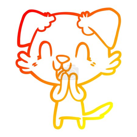 Warm gradient line drawing of a laughing cartoon d...