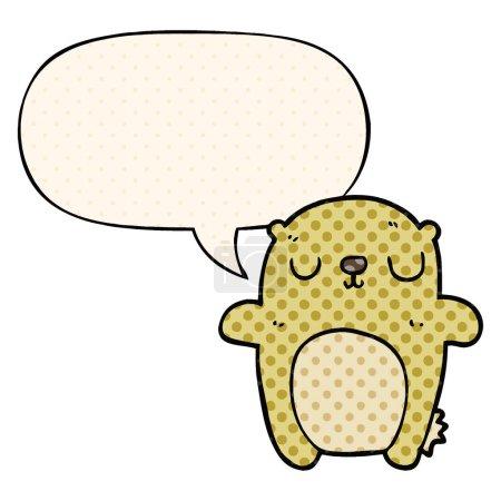 Cartoon bear with speech bubble in comic book styl...