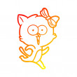 Warm gradient line drawing of a cartoon cat...
