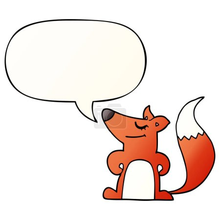 Cartoon fox with speech bubble in smooth gradient ...