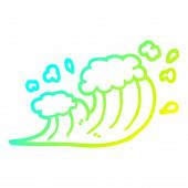 cold gradient line drawing cartoon wave crashing