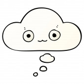 cute cartoon face and thought bubble in smooth gradient style