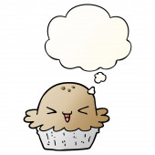 cute cartoon pie and thought bubble in smooth gradient style