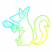 cold gradient line drawing cartoon squirrel with acorn