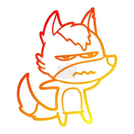 Warm gradient line drawing of a cartoon annoyed wo...