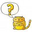 Cartoon cat with question mark with speech bubble ...