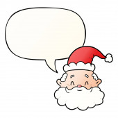 cartoon santa claus face and speech bubble in smooth gradient st