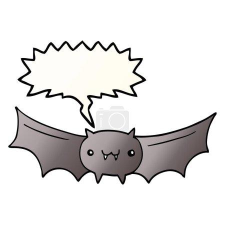 Cartoon vampire bat with speech bubble in smooth g...