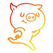 Warm gradient line drawing of a happy cartoon pig ...