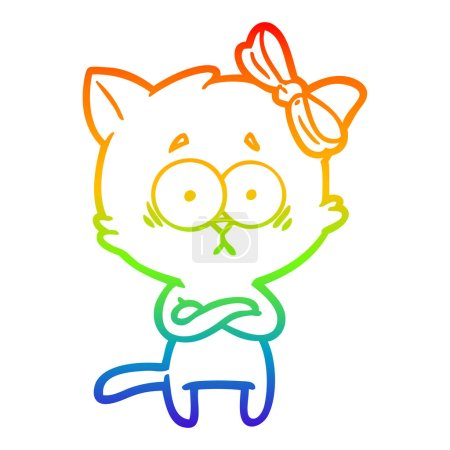 Rainbow gradient line drawing of a cartoon cat...