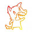 Warm gradient line drawing of a laughing fox carto...