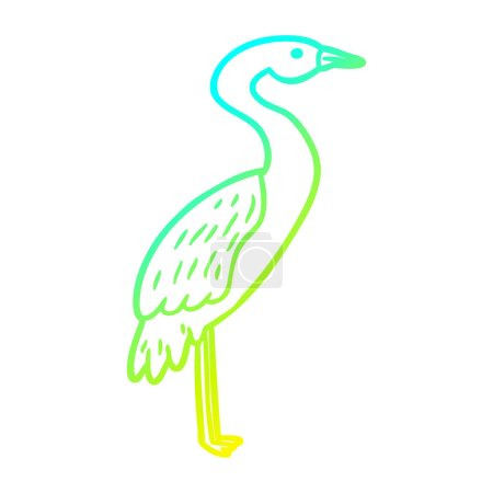 Cold gradient line drawing of a Cartoon stork...
