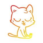 Warm gradient line drawing of a cartoon cat...