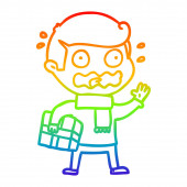 rainbow gradient line drawing cartoon man totally stressed out