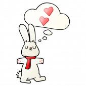 """Постер, картина, фотообои """"мультфильм кролика в любви и мысли пузырь в гладкой градиента sty"""""""
