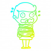 cold gradient line drawing cartoon man with books totally stress
