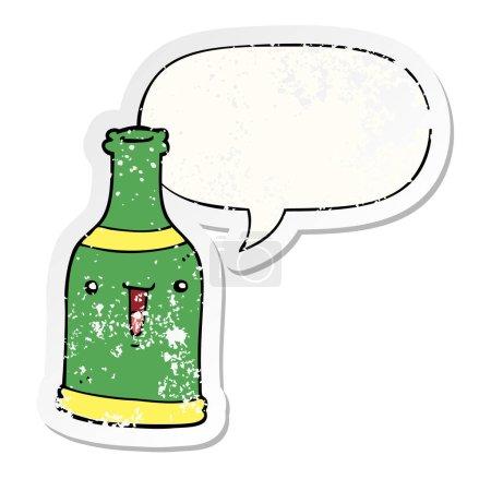 bouteille de bière de dessin animé et autocollant de bulle de parole affligé